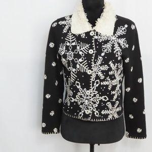 Black Snowflake Fur Collared Sweater Jacket
